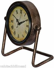 Round Mantel Clock Metal Vintage Standing Shelf in Antique Brass - 21cm H