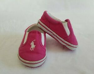 RALPH LAUREN POLO Slip On Baby Girls Pink & White Shoes Infant Sz 2 / 3-6 Months