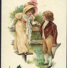 SCARCE NISTER...GALLANT BOY HELPS GIRL OVER STYLE,COLONIAL,CHRISTMAS POSTCARD