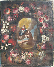 Madonna con Bambino e Sant'Antonio da Padova in ghirlanda di fiori Italia '600