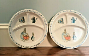 "Beatrix Potter Peter Rabbit & Friends 8"" Melamine Divided Plate   LOT OF 2"