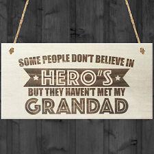 Believe My Grandad Is A Hero Wooden Hanging Plaque Love Best Grandads Gift Sign