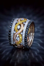 Unique White, Yellow and Black Diamond Wedding Band Spectacular Craftsmansh Ring