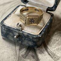 Antique Victorian 9ct Gold Diamond Signet Ring, Birmingham dates 1856, UKO.5