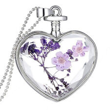 Luxury Heart Glass Bottle Dried Flower Pendant Necklace Chain Necklace ^G