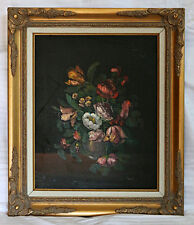 Original Oil Painting on Canvas - Victorian Style Life of Flowers Roses Signed