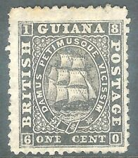 British Guiana 1862 black 1c perf 12.5 thin paper mint no gum SG51