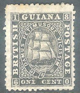 British Guiana 1862 black 1c perf 12.5 thin paper mint no gum SG51