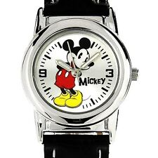 New Disney Mickey Mouse Classic Silver Black Leather Band Watch 30mm MCK621