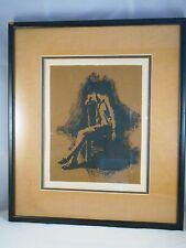 Framed Painting Behind Glass - Man Sitting In Chair - James Brown