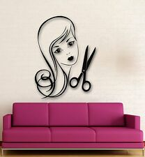Wall Stickers Vinyl Decal Sexy Girl Haircut hairdresser Scissors (ig567)
