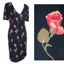 New MARIELLA BURANI Italian Couture '30s Hollywood - Rose Print Dress $600 sz 6