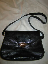 Vintage Lesco Reptile Lizard Black Leather Classic Shoulder Purse Handbag