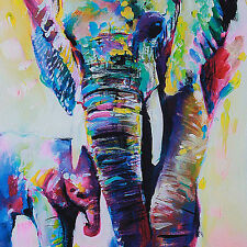 Modern Hand-painted Brt Oil Painting Bbstract Wall Decor Elephant on Canvas BB