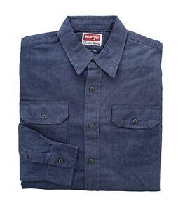 Wrangler Men's Comfort Flex Shirt Denim Twill Long Sleeve Button Up Regular Fit