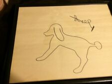 Abstract Dog Canine Animal Signed Framed Painting Markers Silhouette Folk Art