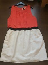 Next Ladies Sleeveless Coral, Black and Cream Dress UK Size 18