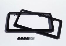 2 pcs BTR Premium Black Stainless Steel License Plate Frame+Free Cap & Screw