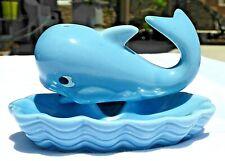 Vintage Whale Blue Ceramic Trinket Dish Soap Dish Very Cute Euc