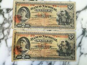 MEXICO LOT OF 2 BANCO NACIONAL 2 PESOS 1913  BANKNOTES