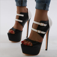 Womens Sexy Super High Heels Peep Toe Platform Buckle Stiletto Sandal Shoe Party