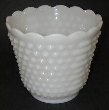 "Anchor Hocking/Fire King Glass Hobnail Ladder Milk Planter Vase 5¼"" Scalloped"