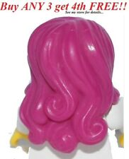 ☀️NEW Lego Minifig Hair Female Girl Magenta Hot Pink Long Wavy w/ Side Part