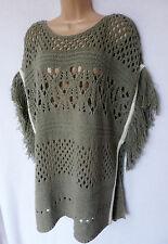 BNWT NEXT mild khaki green crochet chunky knit poncho 12/14/16/18/20/22 S M L XL
