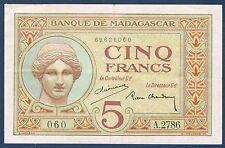 MADAGASCAR - 5 FRANCS Pick n° 35 de 1937 non daté en SUP  A.2786 060