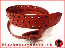 tracolla per chitarra Basso vero cuoio borchie Guitar strap Made in Italy rosso