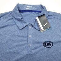 Nike Golf Fox Sports Embroidered Blue Dri-Fit Polo Shirt Men's 2XL XXL New