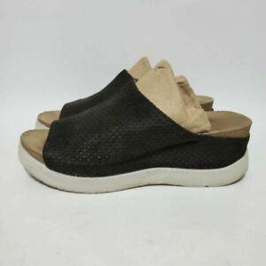 Fly London Womens 9.5 EU 40 Whin Platform Wedge Sandals Black Slip On Shoes