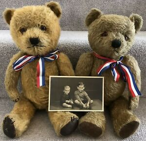 Gorgeous Pair Of Antique Vintage Chiltern Mohair Jointed Teddy Bears C.1940s