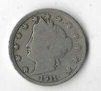 Rare 100 Year Old 1911 US Lady Liberty V Nickel Collection USA Antique Coin L14