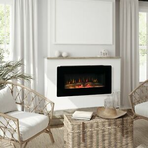 Electric Wall-Mounted Fireplace Heater with Adjustable Flame Effect, Remote