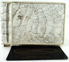 100% BELLY GENUINE CROCODILE LEATHER MONEY CLIP WALLET SHINY WHITE NEW