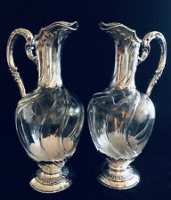 Antique Pair French 950 Silver & Crystal Ewers Jugs Claret Paul Canaux