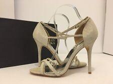 Badgley Mischka Dominique Platino Metallic Women's Evening High Heels Sandal 8.5