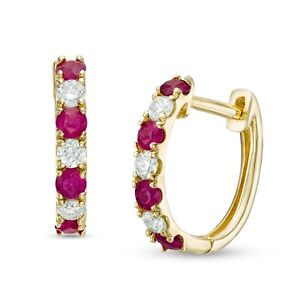1.26Ct Round Cut Pink Ruby & Diamond Solid 14k Yellow Gold Finish Hoop Earrings