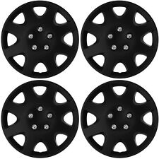 "4 pc NEW Universal HubCaps BLACK MATTE 15"" Inch Wheel Cover Hub Caps Covers Cap"