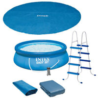 "Intex 15' x 48"" Easy Set Above Ground Inflatable Pool with Pump and Solar Cover"