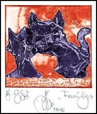 Agirba Ruslan 2016 Exlibris C3 Project Family Cat Katze Kot Gato Pets p46