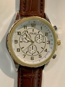Folio Men's Brown Leather Strap Watch Perfect Working