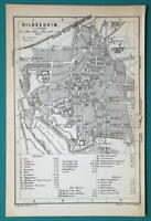 1897 BAEDEKER MAP - Germany Hilesheim Town Plan + Railroads