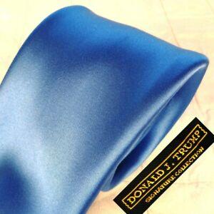 "DONALD J. TRUMP 100% Silk Tie Necktie Glossy Solid BLUE - MAGA 3-3/4"" x 61"" XL"
