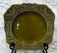 Vintage Mid Century Regency Canonsburg Pottery Green Ironstone Plates Set of 3