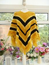 HAND KNITTED YELLOW & BLACK CROCHET FRINGED KNITTED WOOL? PONCHO ONESIZE
