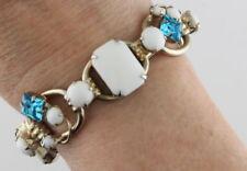Juliana White Milk Glass & Aqua Rhinestones Bracelet - Book Piece