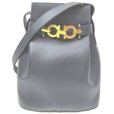 Ferragamo Shoulder Bag Gancini Navy Blue Leather 1415342