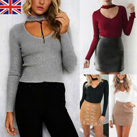 Women Ladies Long Sleeve Knitted Sweater Pullover Jumper V Neck Blouse Tops New